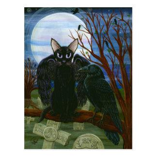 Ravens vykort för konst för kråka för katt för