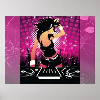 Raverflicka som dansar DJ Poster