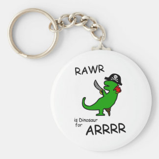 RAWR är dinosauren för ARRR (piratdinosauren) Rund Nyckelring