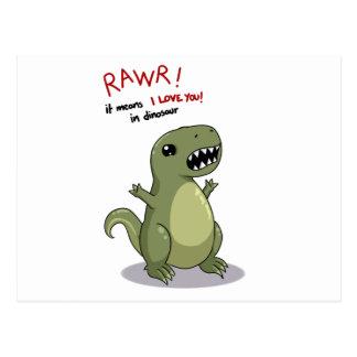 Rawr elak älskar jag dig i Dinosaur Vykort