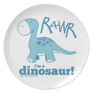 RAWR mig förmiddag som en DinosaurDiplodocus Tallrik