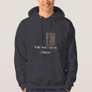 rawwrr RaWr elak älskar jag dig i Dinosaur! Sweatshirt Med Luva