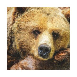 Realistisk olja för lat Grizzlybjörn på kanfas Canvastryck