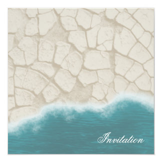 Realistic Beach Invitation: Sand and Ocean Water