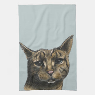 Realistisk teckning för nära övre tabby katt kökshandduk