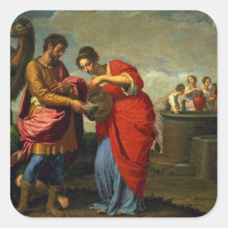 Rebecca och Eliezer på brunnen, c.1626-27 Fyrkantigt Klistermärke