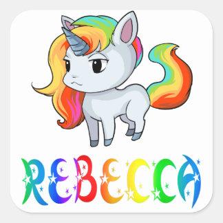 Rebecca Unicornklistermärke Fyrkantigt Klistermärke
