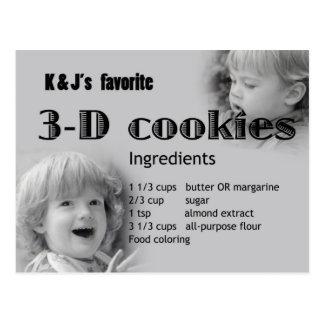 recept för kaka 3D Vykort