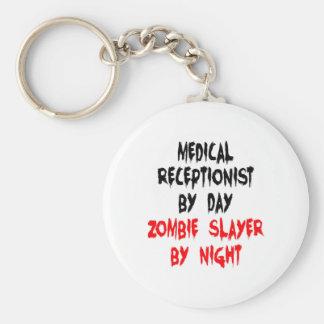 Receptionist för ZombieSlayerläkarundersökning Rund Nyckelring
