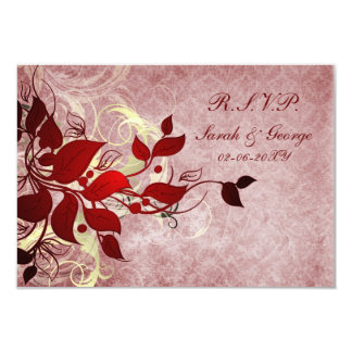 red winter wedding rsvp standard 3.5 x 5 personalized invitations