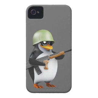 (Redigerbar) gullig soldat för pingvin 3d, iPhone 4 Case-Mate Skydd