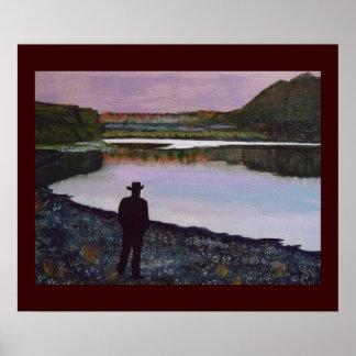 Reflektera på Missouriet River, fort Benton, Mt. Poster