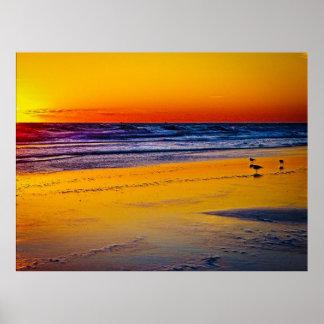 Reflexion av soluppgången på Atlantic Ocean & stra Poster