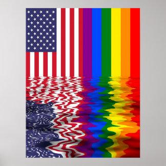Reflexionen för LGBT-regnbågeflagga samlar banret Poster