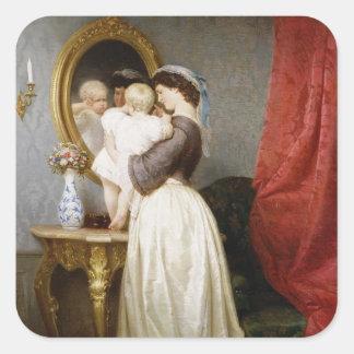 Reflexioner av Maternal kärlek Fyrkantigt Klistermärke
