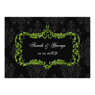regal krusidullsvart och grön spara datera personliga tillkännagivanden