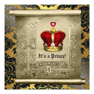 Regal kunglig röd Prince baby shower Fyrkantigt 13,3 Cm Inbjudningskort