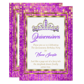 Regal Princess Lila Quinceanera Guld Vit 12,7 X 17,8 Cm Inbjudningskort