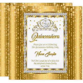Regal Princess Quinceanera Guld Vit Diamant Fyrkantigt 13,3 Cm Inbjudningskort