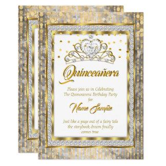 Regal Princess Quinceanera Guld Vit Försilvra 12,7 X 17,8 Cm Inbjudningskort
