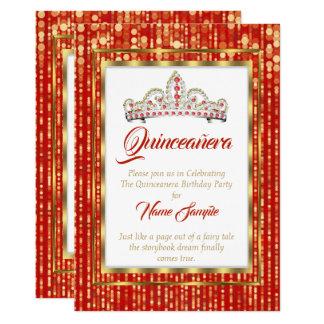 Regal Princess Röd Quinceanera Guld Vit 12,7 X 17,8 Cm Inbjudningskort