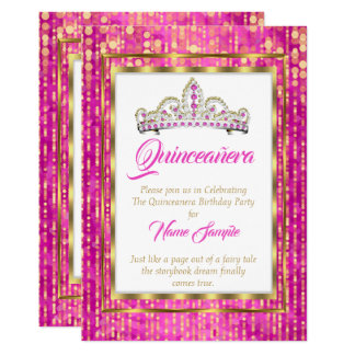 Regal Princess Rosa Quinceanera Guld Vit 12,7 X 17,8 Cm Inbjudningskort