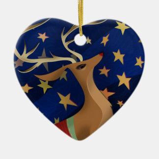 Regal ren hjärtformad julgransprydnad i keramik