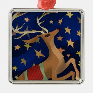 Regal ren silverfärgad fyrkantigt julgransprydnad
