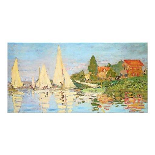 Regatta på Argenteuil vid Claude Monet Foto Kort