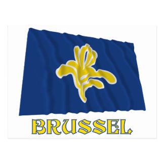 Region av Bryssel som vinkar flagga med namn Vykort