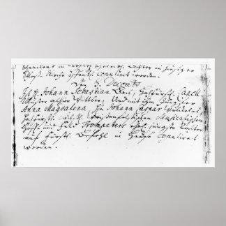 Register av Bachs bröllop till Anna Affischer