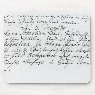 Register av Bachs bröllop till Anna Mus Mattor
