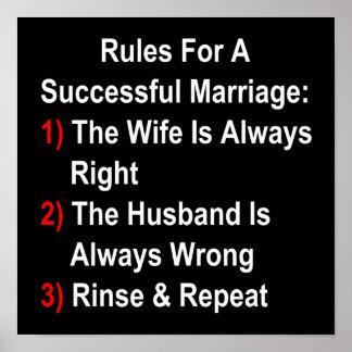 Regler för ett lyckat giftermål poster