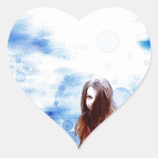 regna hjärtformat klistermärke