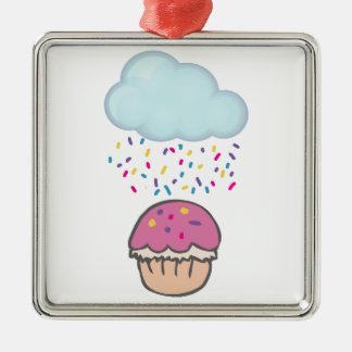 Regna stänk på muffin julgransprydnad metall
