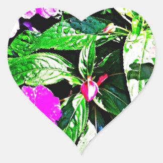 Regna växten hjärtformat klistermärke