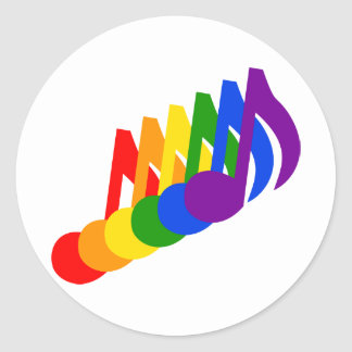 Regnbåge av musik noter runt klistermärke