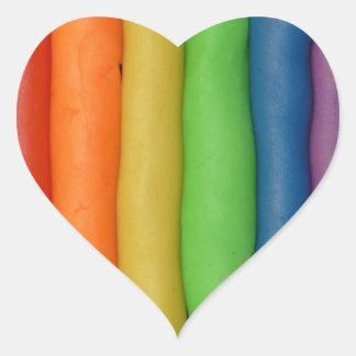 Regnbåge av Squishy deg Hjärtformat Klistermärke