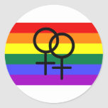 Regnbåge färgad lesbisk prideflagga runda klistermärken