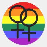 Regnbåge färgad lesbisk prideflagga rund klistermärke