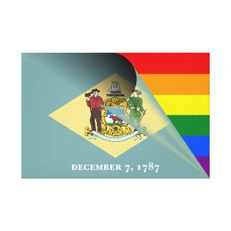 Regnbåge för Delaware flaggagay pride Canvastryck