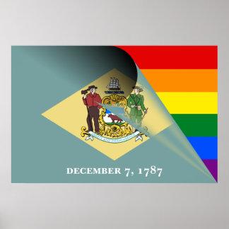 Regnbåge för Delaware flaggagay pride Poster