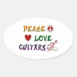 Regnbåge för gitarrer för fredkärlek elektrisk ovalt klistermärke