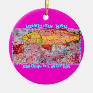 regnbåge som jagar klipsk fred på jord julgransprydnad keramik
