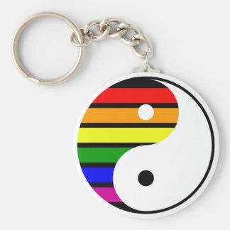 Regnbåge Yin Yang Rund Nyckelring