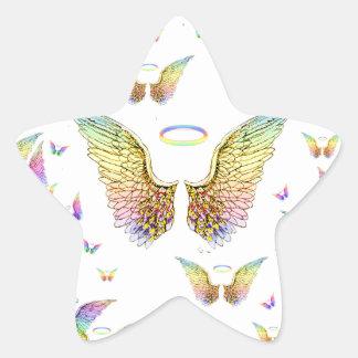 Regnbågeängelvingar och glorior stjärnformat klistermärke