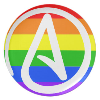 Regnbågeateistflagga Tallrik
