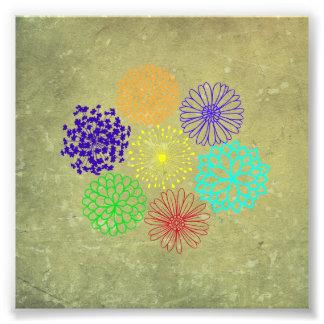 Regnbågeblommaart déco fototryck