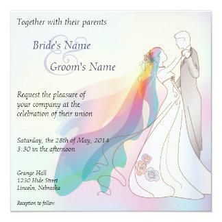 Regnbågebrud- & brudgumbröllopinbjudan - 1 fyrkantigt 13,3 cm inbjudningskort
