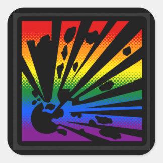 Regnbågeexplosion Fyrkantigt Klistermärke